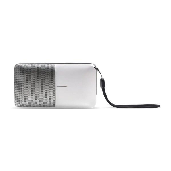 Fusion Power Bank/Speaker - White - Side view with wrist strap