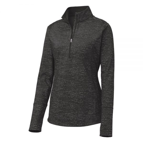 Ladies-Sport Tek Reflective Heather Quarter-Zip - Black - Form Front