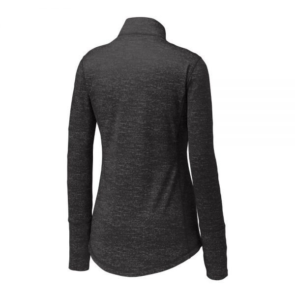 Ladies-Sport Tek Reflective Heather Quarter-Zip - Black - Side Back
