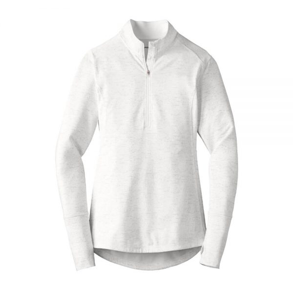 Ladies-Sport Tek Reflective Heather Quarter-Zip - White
