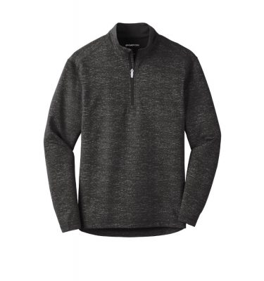 Mens-Sport Tek Reflective Heather Quarter-Zip - Black