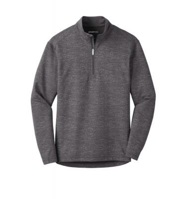 Mens-Sport Tek Reflective Heather Quarter-Zip - Charcoal
