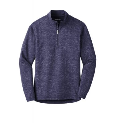 Mens-Sport Tek Reflective Heather Quarter-Zip - True Navy
