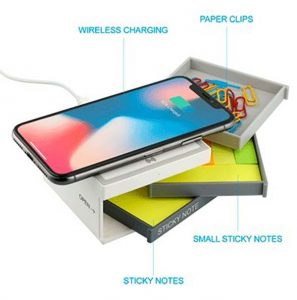 Chaos desk kit with charging pad wirelessly charges your phone, holds two sizes of sticky notes, and has a small drawer for other office needs