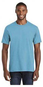 Guy wearing a blue short sleeved Fan Favorite Tee shirt