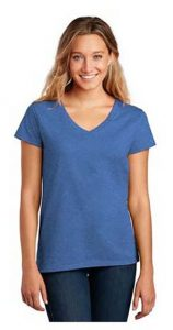 Lady wearing a blue short sleeved District Re-Tee shirt