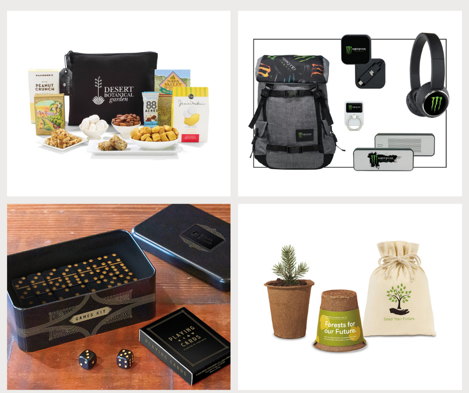Custom branded snack kit, branded employee welcome kit, branded eco-friendly kit, custom games kit