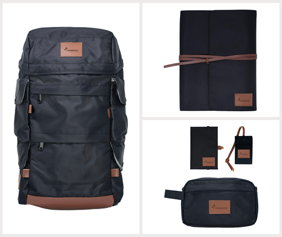 Backpack, journal, dopp kit, luggage tag, and wallet all with custom branded patches
