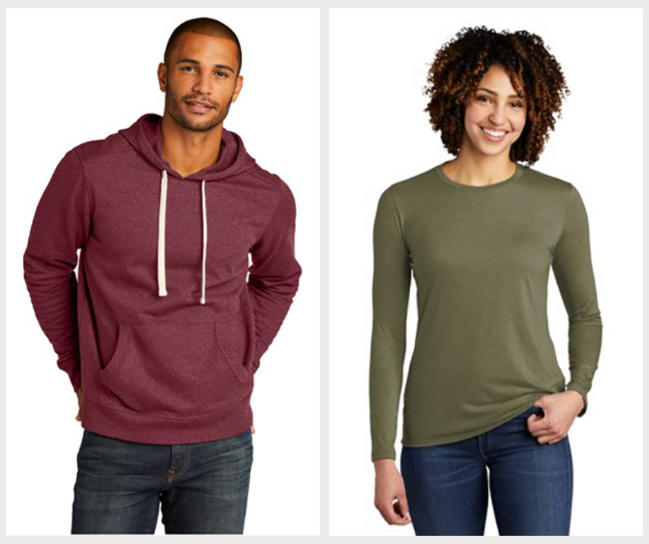 Two models showing a hoodie and long sleeve shirt made from sustainable materials