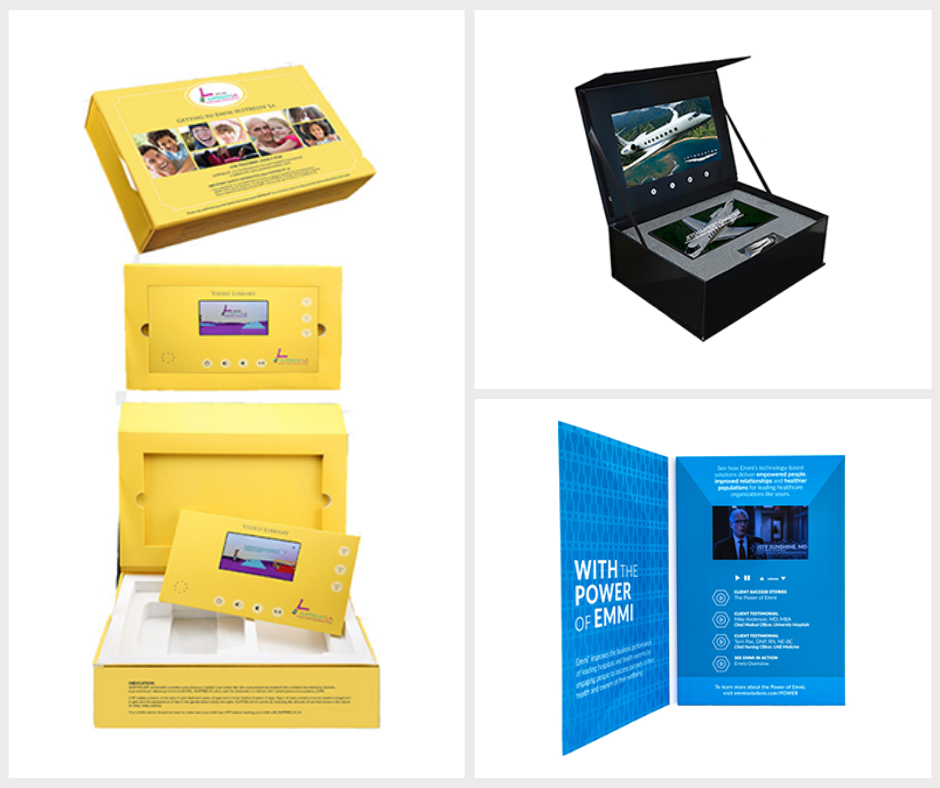 Three examples of video direct mail packages