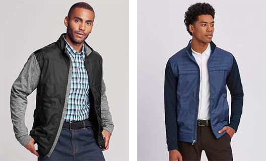 Male models showing off two styles of hybrid jackets that can be used for corporate custom branding.