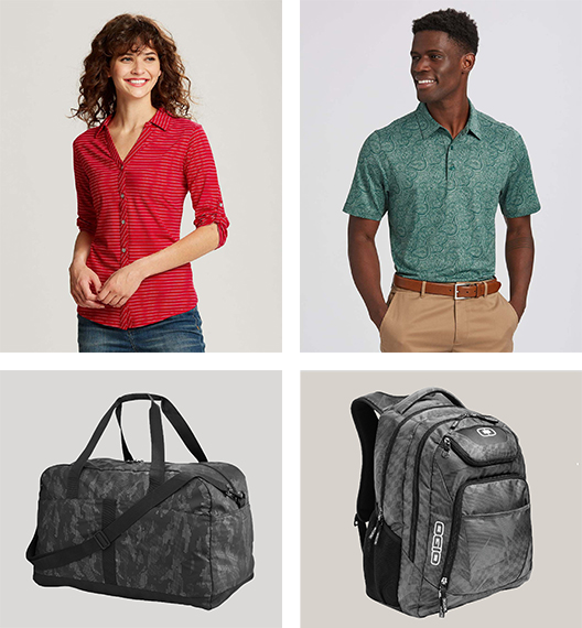 Female model in a striped business top, male model in a paisley polo, patterned duffel bag and backpack