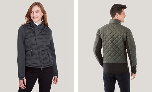 Male and female model showing off gray and army green puffer jackets with new patterns