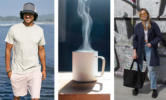 Images of man wearing a eco-conscious shirt and hat, a sustainably made mug by MiiR, and a woman holding a Parkland tote bag