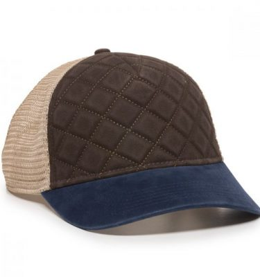 Quilted Cap - Brown/Ivory/Navy - Front Profile Right