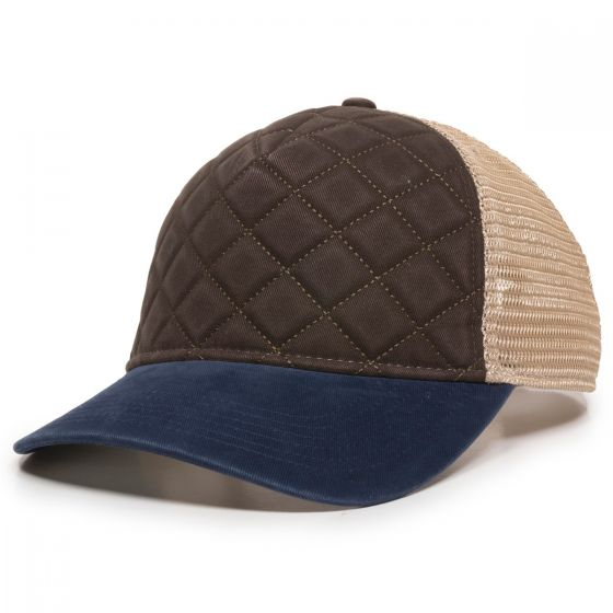Quilted Cap - Brown/Ivory/Navy - Front Profile Left