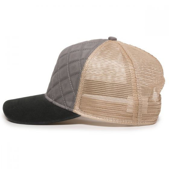 Quilted Cap - Grey/Ivory/Black - Side Profile Left