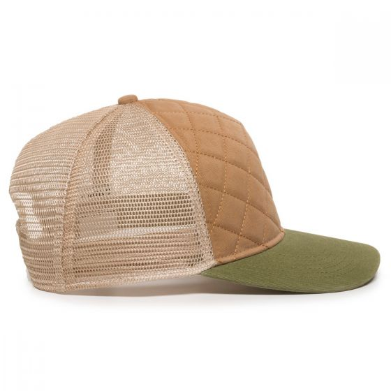 Quilted Cap - Khaki/Ivory/Olive - Side Profile Right