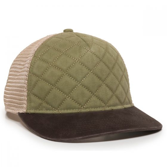 Quilted Cap - Olive/Ivory/Brown - Front Profile Right