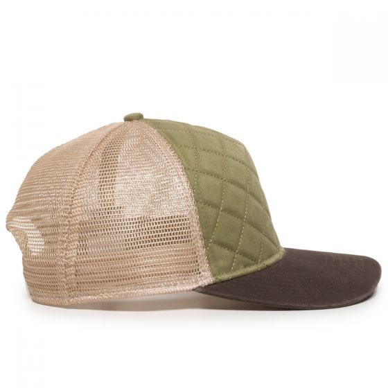 Quilted Cap - Olive/Ivory/Brown - Side Profile