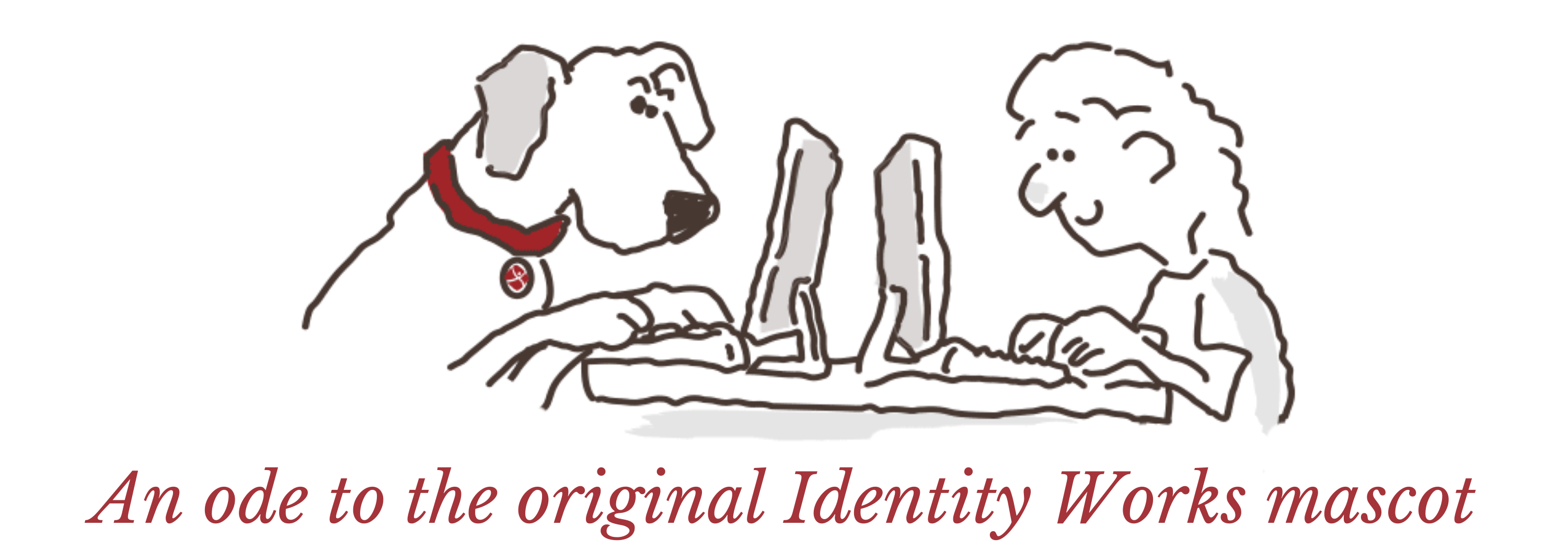 Ted and Bridget working | An ode to the original identity Works mascot